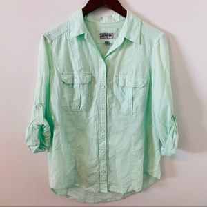 Express Fitted Button Front Shirt Size M